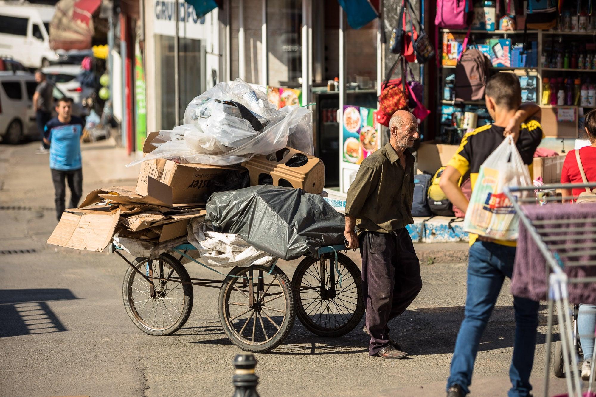 man transporting stuff in Trabzon