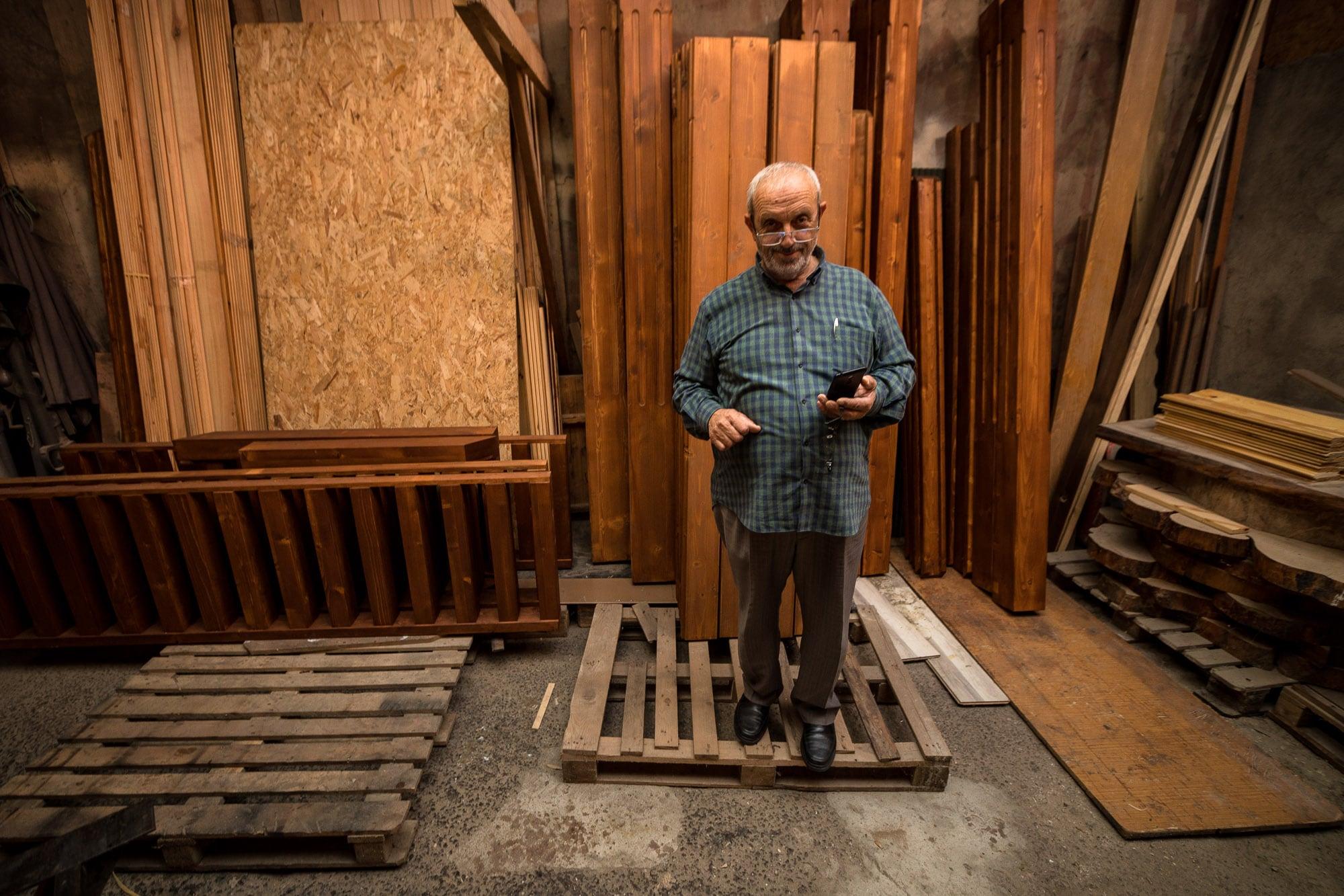 Hamdi in his workshop