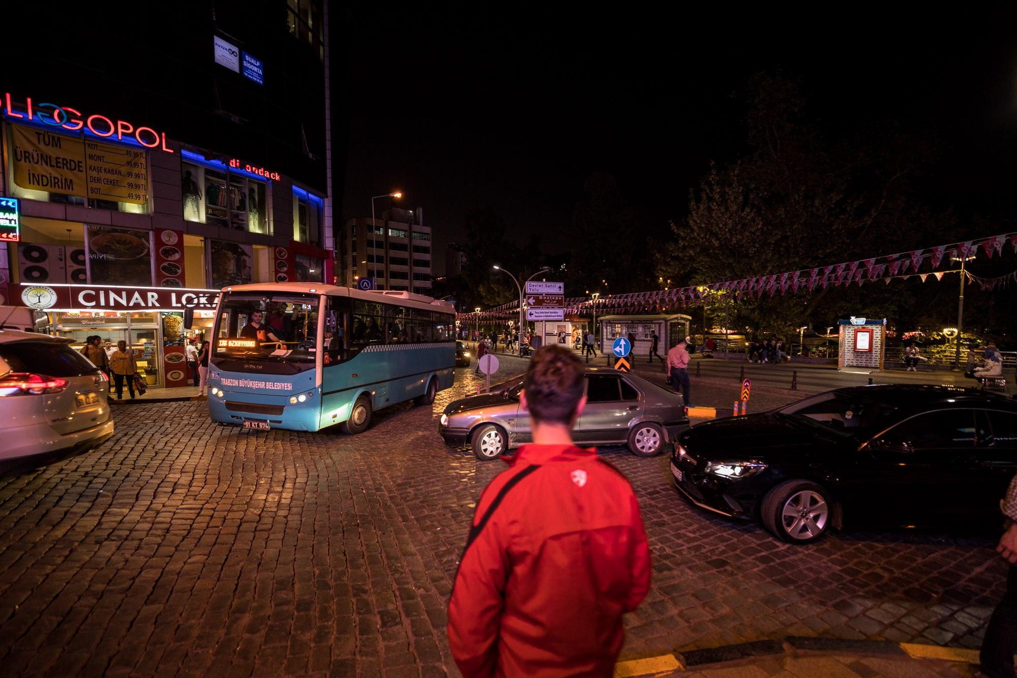 downtown Trabzon at night