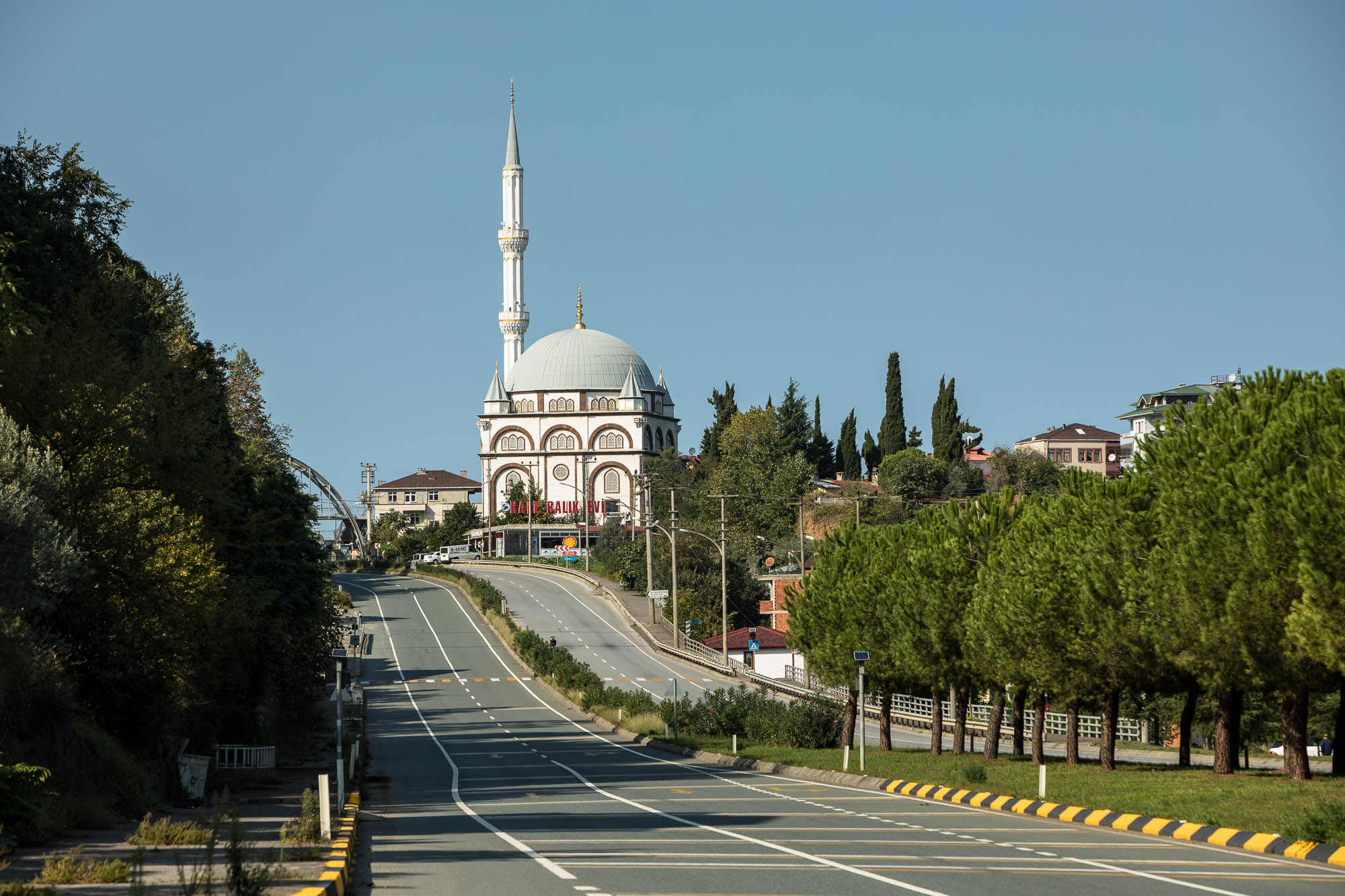 road with mosque