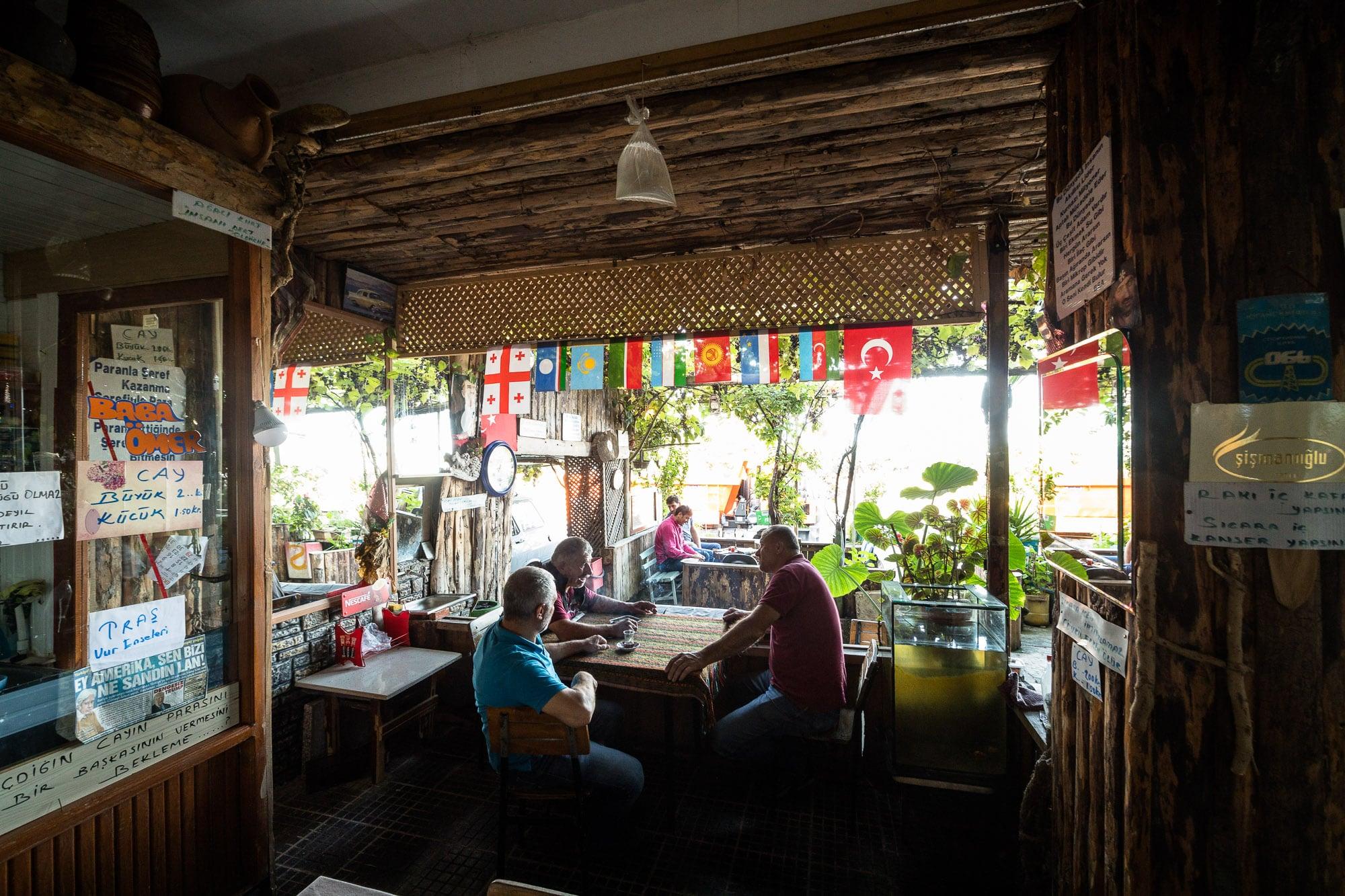 patrons at Aihan's teahouse