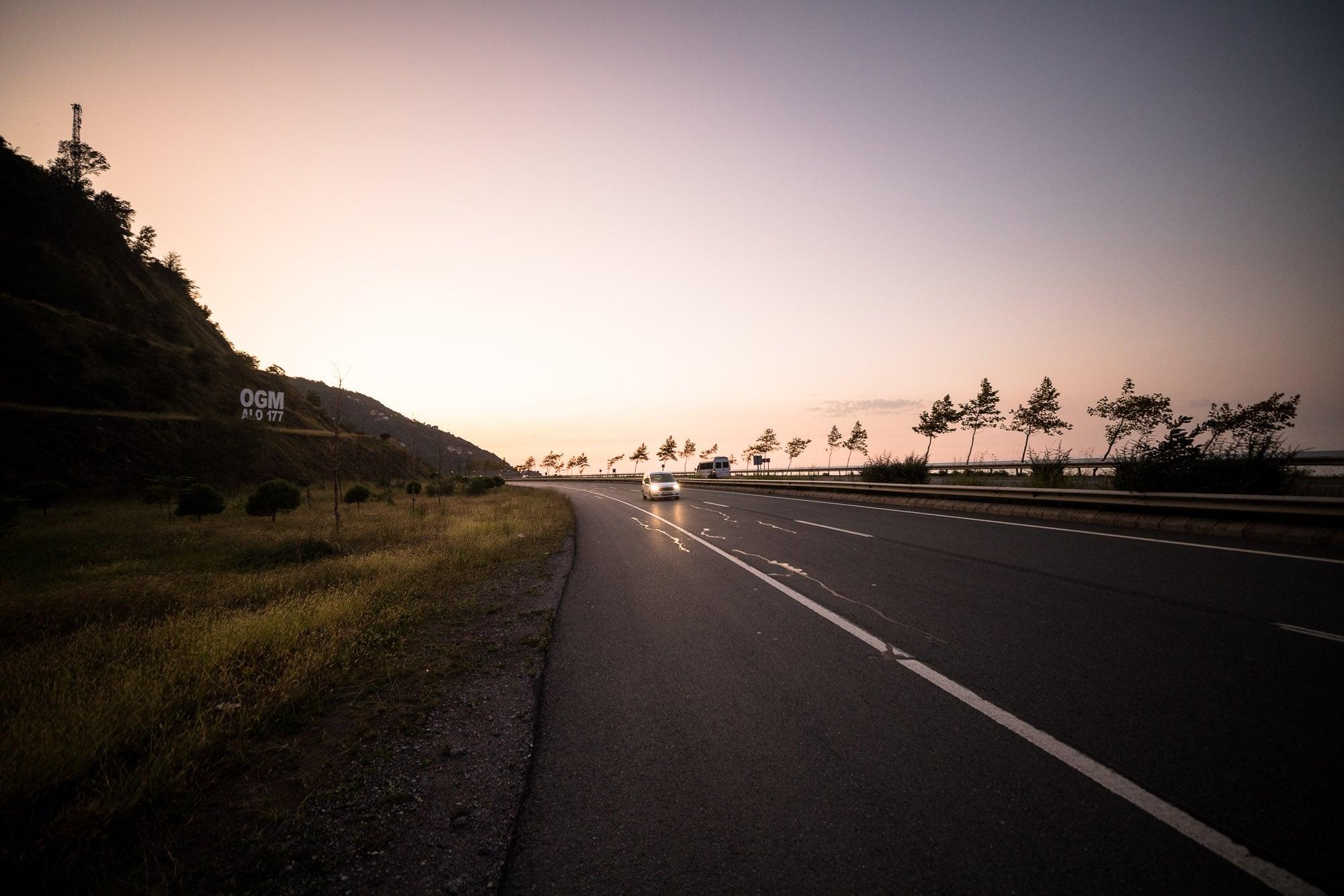 road to Carsibasi at sunset