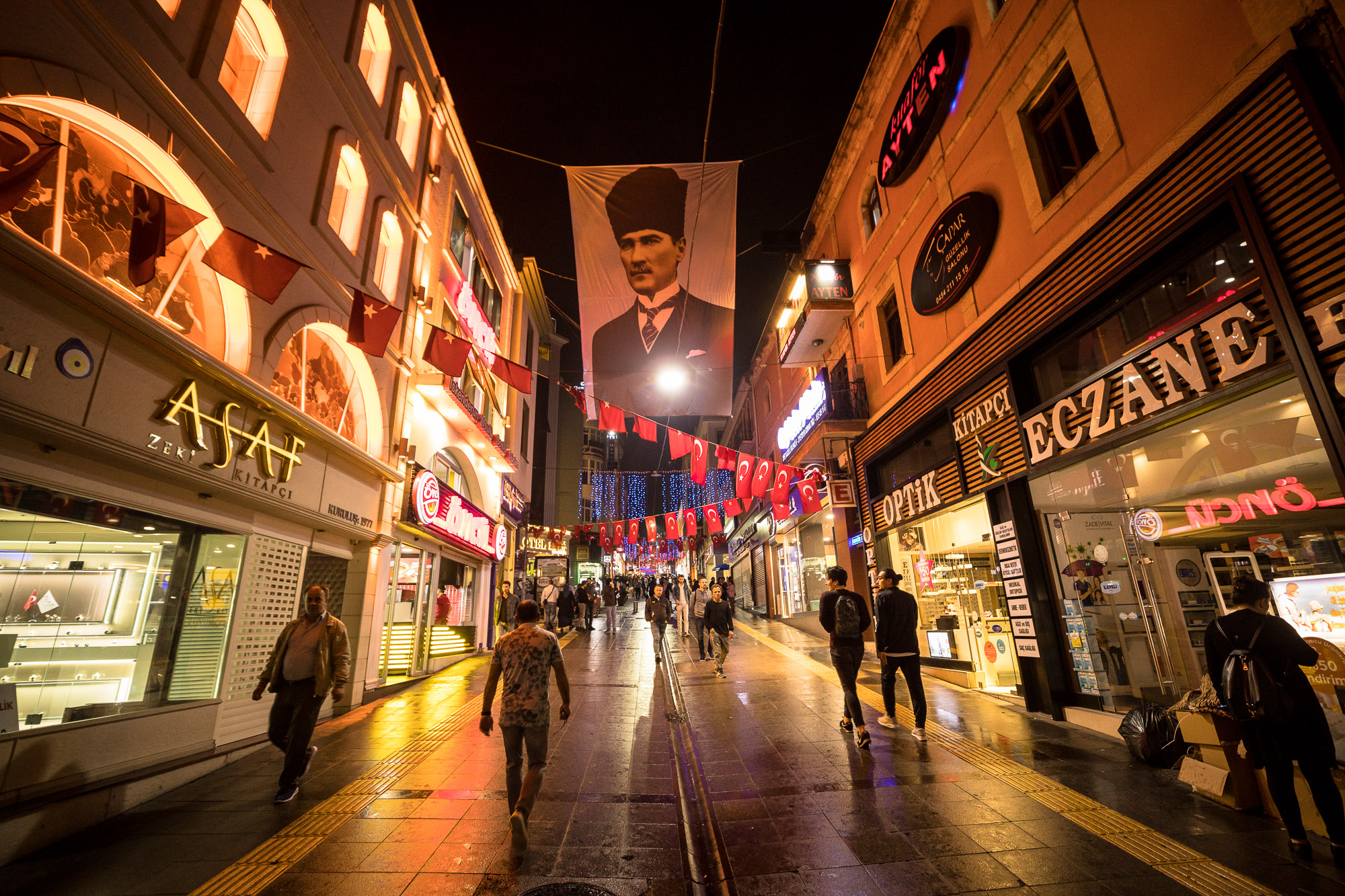 Giresun shopping street at night