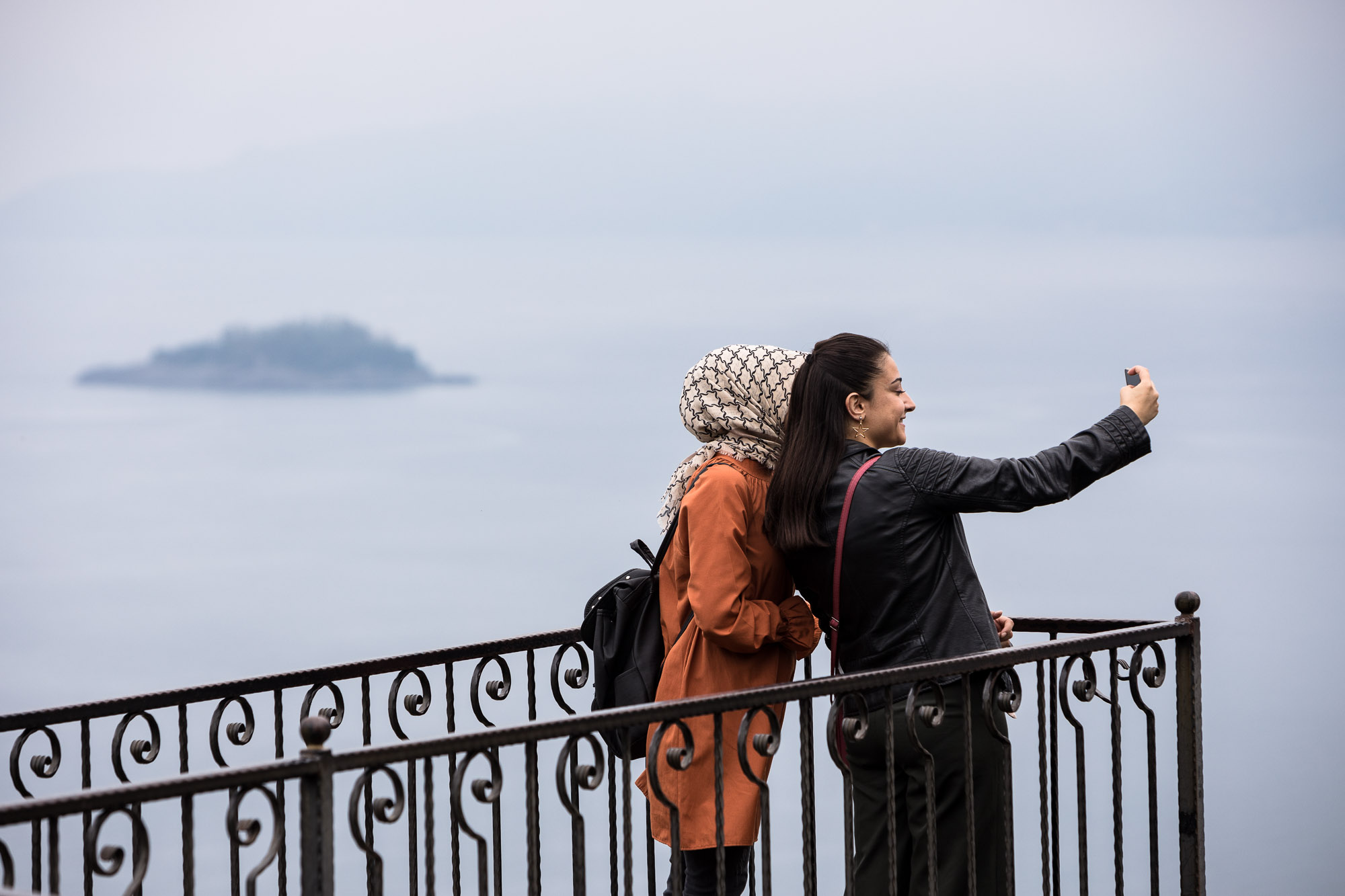 women taking selfies near Giresun Castle