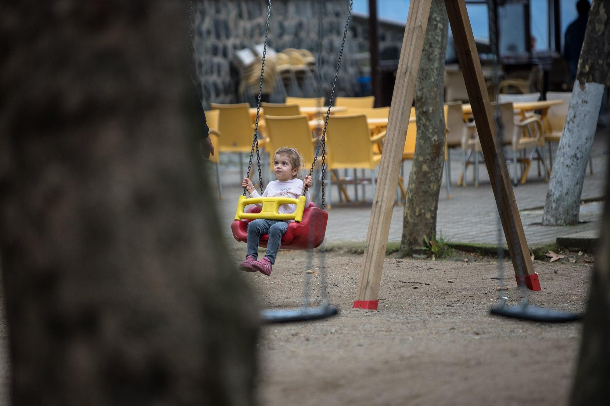 kid on swing near Giresun Castle