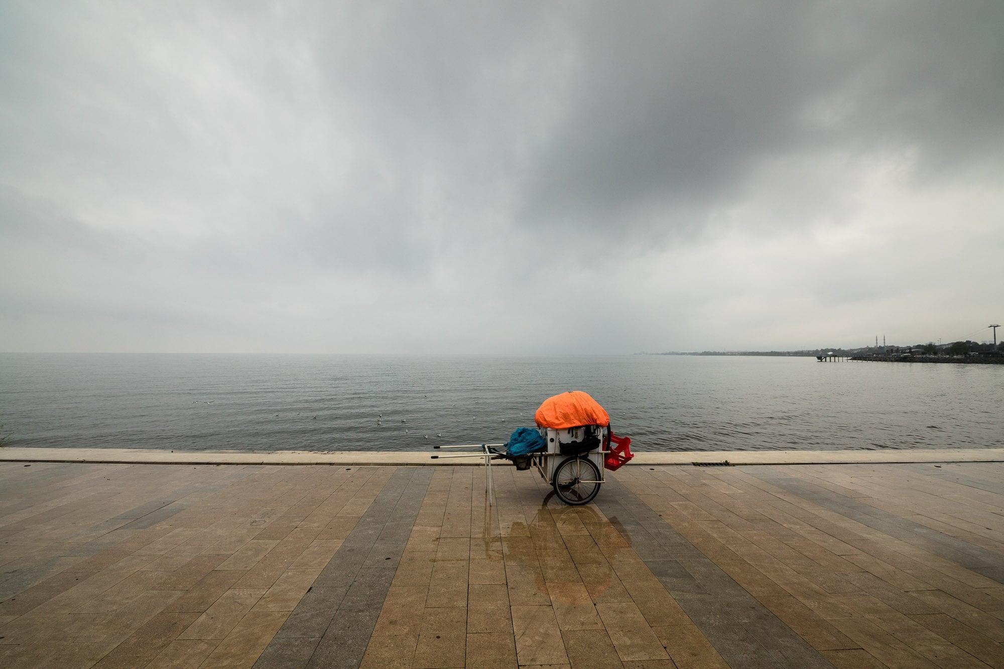 Caboose in the rain
