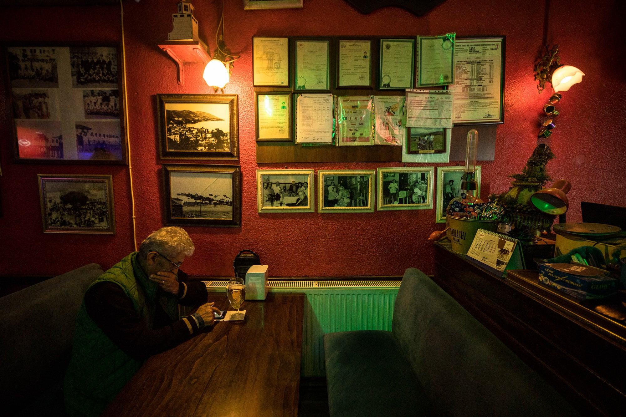 man in bar in Persembe