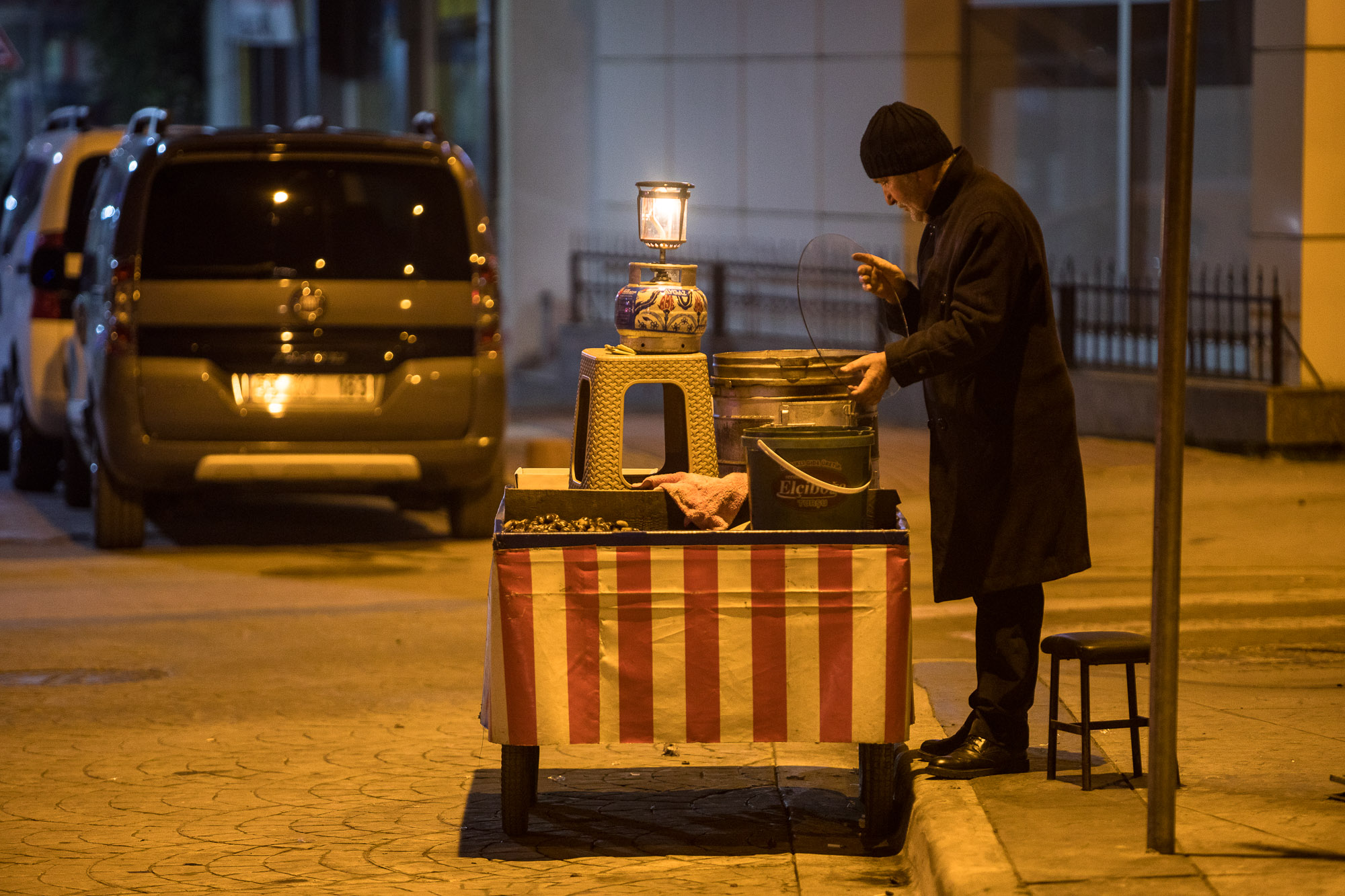 man selling chestnuts