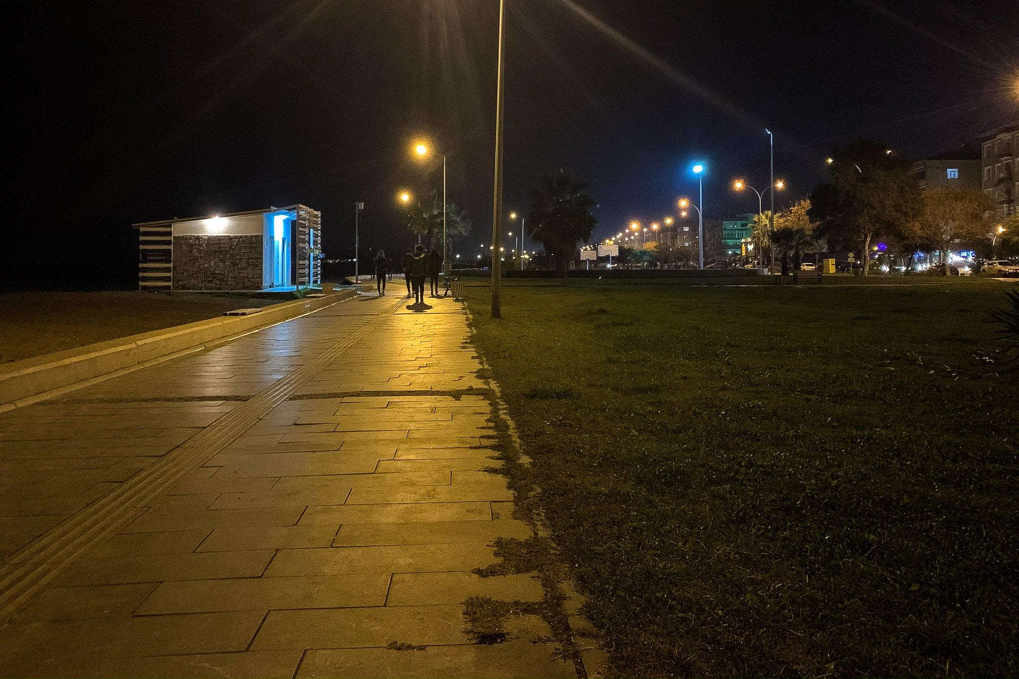beach boulevard in Atakum at night